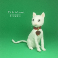 White Cat Kitten Needle Felted Sculpture Ornament Valentines gift