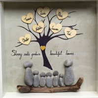 Family tree pebble art frame, personalised gift, Christmas gift, new home