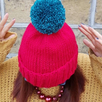 Lipstick Red Chunky Bobble Hat With Teal Blue Pom Pom - Vegan Friendly