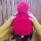Lipstick Red Chunky Bobble Hat With Pomegranate Pink Pom Pom - Vegan Friendly
