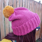 Raspberry Pink Chunky Bobble Hat With Gold Yellow Pom Pom - Vegan Friendly