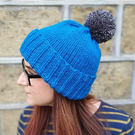 Empire Blue Chunky Bobble Hat With Graphite Grey Pom Pom - Vegan Friendly