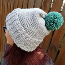 Silver Grey Chunky Bobble Hat With Sage Green Pom Pom - Vegan Friendly