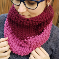 Raspberry Pink and Burgundy Chunky Snood - Vegan Friendly