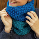Teal and Empire Blue Chunky Snood - Vegan Friendly