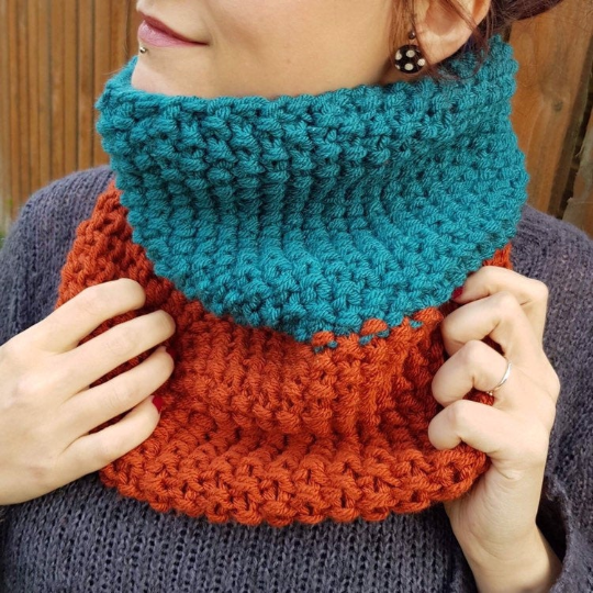 Teal and Copper Orange Chunky Snood - Vegan Friendly