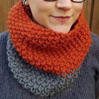 Graphite Grey and Copper Orange Chunky Snood - Vegan Friendly