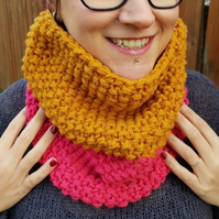 Pomegranate Pink and Mustard Gold Yellow Chunky Snood - Vegan Friendly