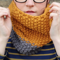 Graphite Grey and Mustard Gold Yellow Chunky Snood - Vegan Friendly