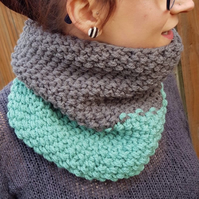 Sage Green and Graphite Grey Chunky Snood - Vegan Friendly