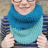 Teal Blue and Sage Green Chunky Snood - Vegan Friendly