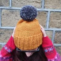 Gold Mustard Yellow Chunky Bobble Hat With Graphite Grey PomPom - Vegan Friendly