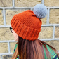 Copper Orange Chunky Bobble Hat With Silver Grey Pom Pom - Vegan Friendly