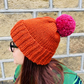Copper Orange Chunky Bobble Hat With Raspberry Pink Pom Pom - Vegan Friendly