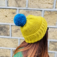 Lime Green Chunky Bobble Hat With Empire Blue Pom Pom - Vegan Friendly
