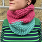 Sage Green and Raspberry Pink Chunky Snood - Vegan Friendly