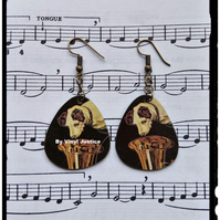 His Masters Voice Logo Plectrum pick shaped earrings from a record.