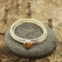 Citrine and sterling silver stacker ring set. Skinny band ring.