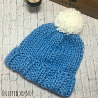 Super Chunky Knitted hat. 0-6 months, 6-12 months and adult. Light Blue & cream