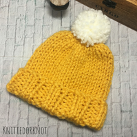 Super Chunky Knitted hat. 0-6 months, 6-12 months and adult. Mustard and cream