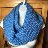 Hand - Crocheted Light blue snood. Infinity snood. Cozy Crochet Snood.