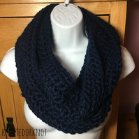 Hand - Crocheted Navy blue snood. Infinity snood. Cozy Crochet Snood.