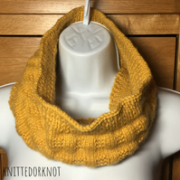 Hand - Knitted Basket Weave, Mustard Cowl. Infinity Scarf.