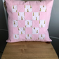 Handmade Quilted Cushion. Peter Rabbit Cushion. Baby girls room.