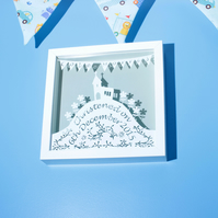 Personalised Christening papercut gift