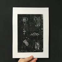 "A4 ""Illustration"" original woodcut print"