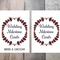 Wedding Milestone Cards. Floral Wreath Design, Pack of 15 A5 cards.
