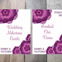 Wedding Milestone Cards. Floral Design, Pack of 15 A5 cards.