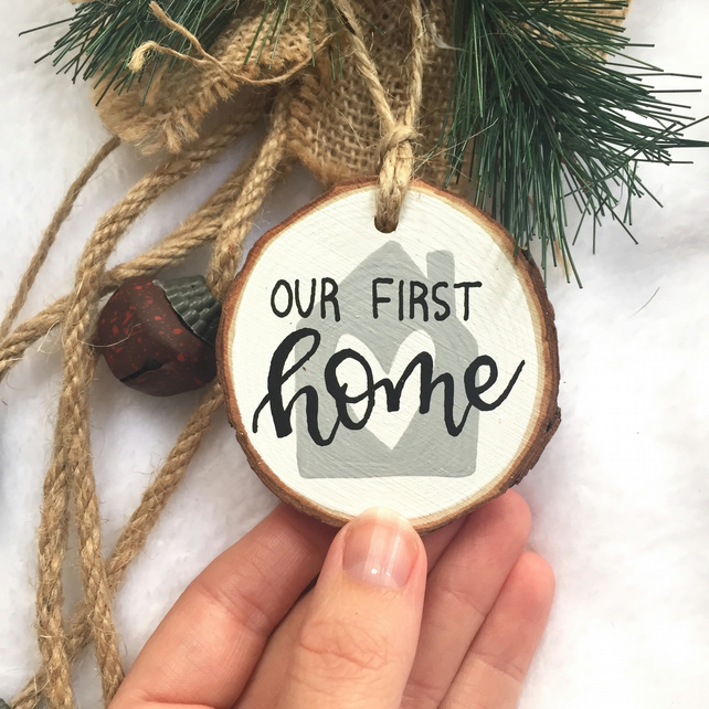 Our First Home Christmas Ornament.Our First Home Christmas Wood Slice Ornament