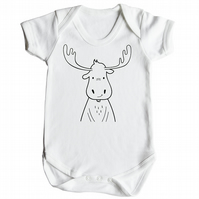 Moose Baby Grow - Melvin the Moose White Short Sleeve Babygrow