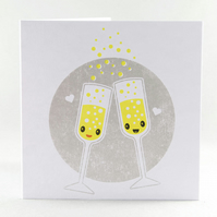 Wedding Card - Celebration Card, Champagne Card, Anniversary Card