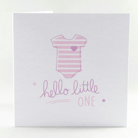 New Baby Card - Hello Little One, Baby Card, Newborn Card