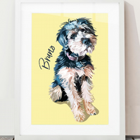 Custom hand-drawn pet illustration of a single pet - bespoke pet portrait