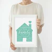 Personalised family home Word Art print. New home, anniversay, thank you gift