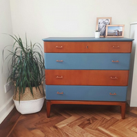 Mid-Century Chest Of Drawers Newly Hand Painted Blue & Copper Upcycled Retro