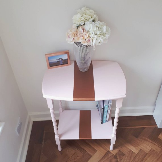 Vintage Console Table Hallway Coffee Side End Table Newly Painted Pink & Copper