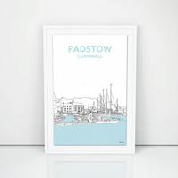 Padstow Harbour line drawing, North Cornwall art A4 print, Cornish Gift
