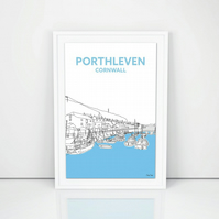 Porthleven Harbour line drawing, North Cornwall art A4 print, Cornish Gift