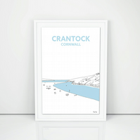 Crantock Beach A3 Print, Hand drawn in Cornwall, Newquay art illustration design