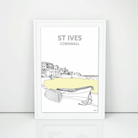 Hand Drawn Cornish Print, A4 St Ives from Harbour Beach Cornwall
