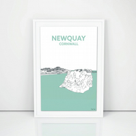 Hand Drawn Cornish Print, A4 Newquay Island Beach Cornwall