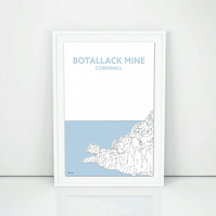 Botallack Mine A3 Print, Hand drawn in Cornwall, Poldark art illustration design