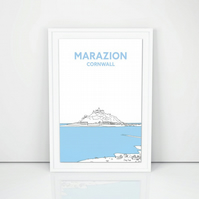 Hand Drawn Cornish Print, A4 St Michaels Mount from Marazion Beach Cornwall
