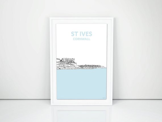 St Ives from Porthminster Beach Cornwall, Hand-drawn print A4. Cornish Art