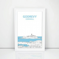 Godrevy Lighthouse A3 Print, Hand drawn in Cornwall, art illustration design