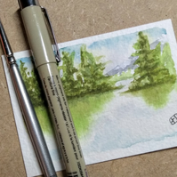 Original miniature watercolour landscape painting of trees and lake